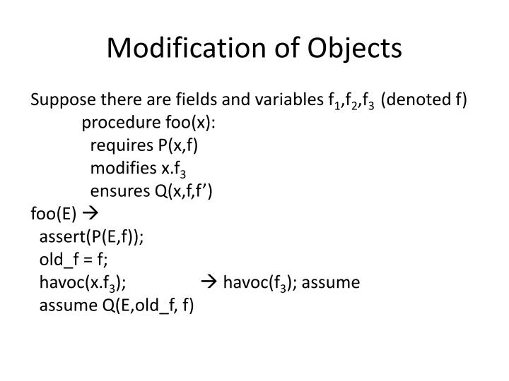 Modification of Objects