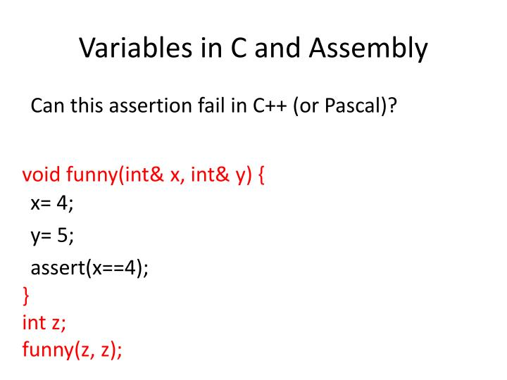 Variables in C and Assembly
