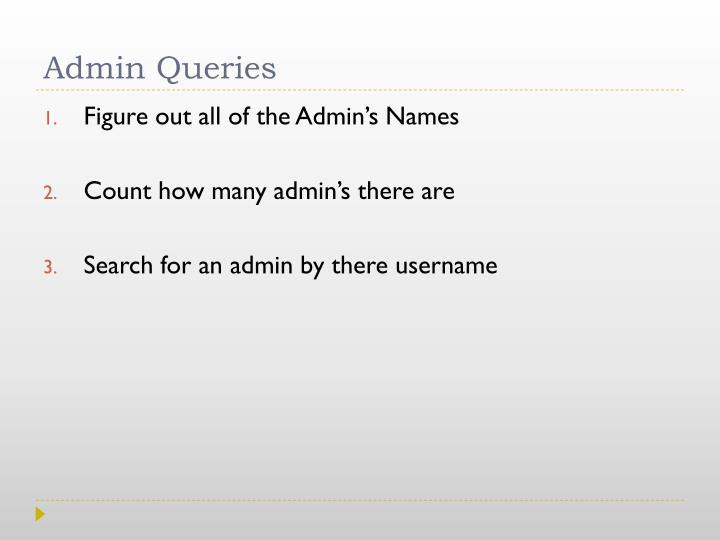 Admin Queries