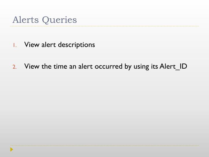 Alerts Queries