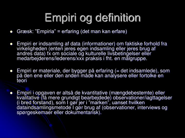 Empiri og definition