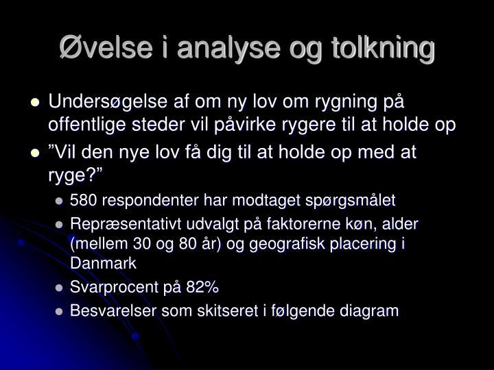 Øvelse i analyse og tolkning