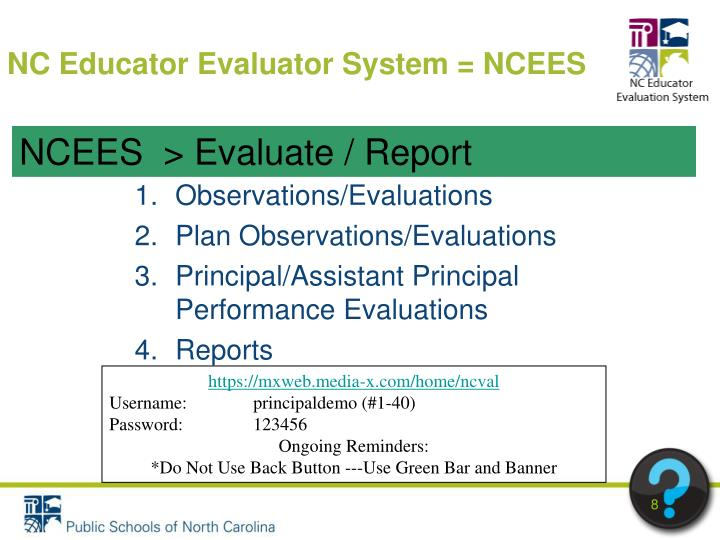 NC Educator Evaluator System = NCEES
