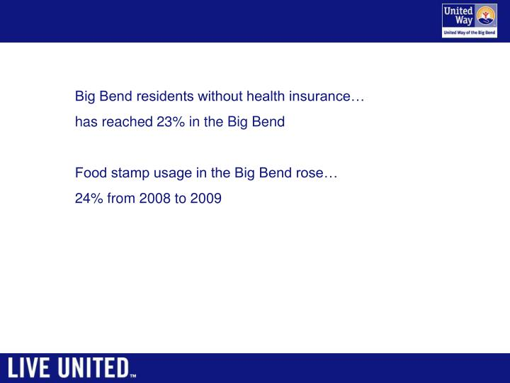 Big Bend residents without health insurance…