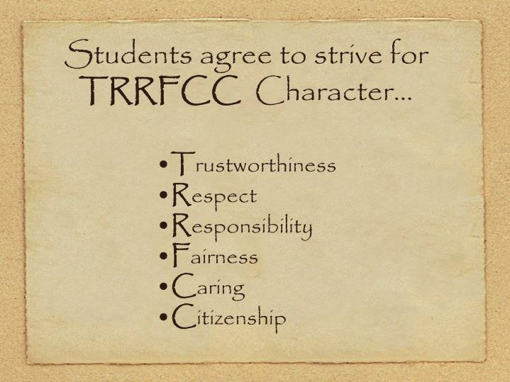 Students agree to strive for