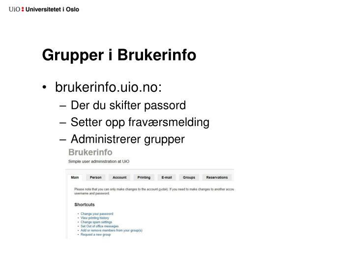 Grupper i Brukerinfo