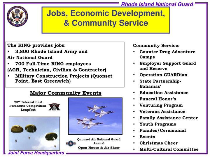 Jobs, Economic Development, & Community Service