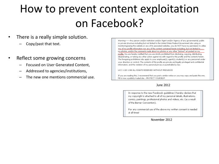 How to prevent content exploitation on Facebook?
