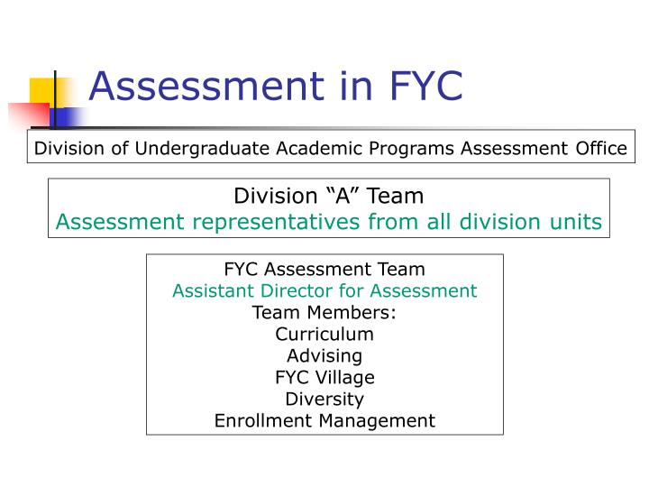 Assessment in FYC