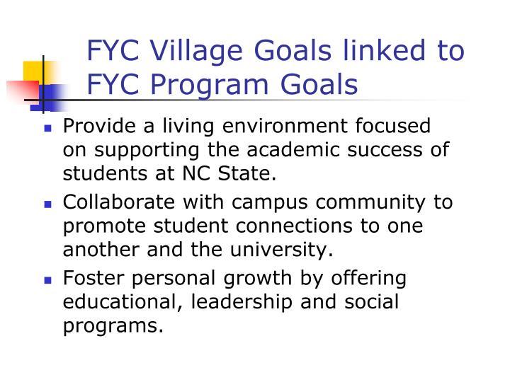FYC Village Goals linked to FYC Program Goals