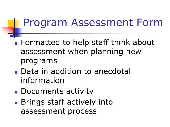Program Assessment Form