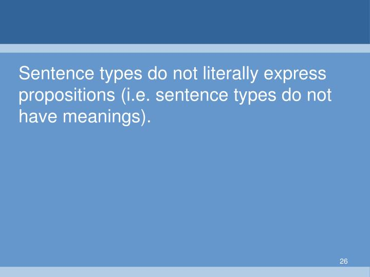 Sentence types do not literally express propositions (i.e. sentence types do not have meanings).