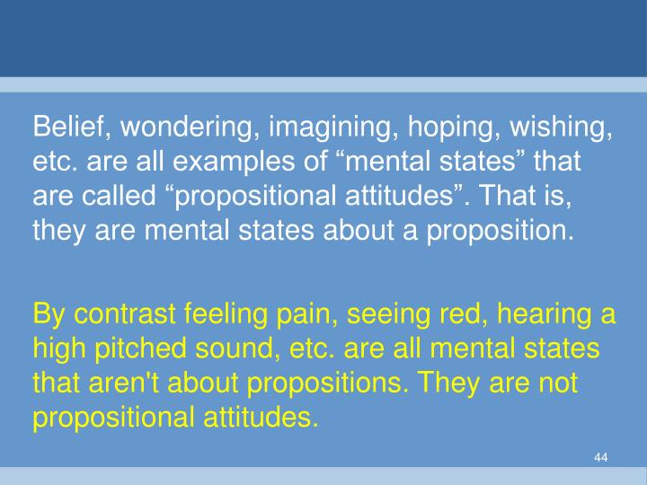 "Belief, wondering, imagining, hoping, wishing, etc. are all examples of ""mental states"" that are called ""propositional attitudes"". That is, they are mental states about a proposition."