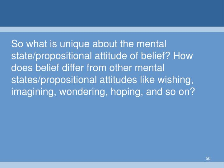 So what is unique about the mental state/propositional attitude of belief? How does belief differ from other mental states/propositional attitudes like wishing, imagining, wondering, hoping, and so on?