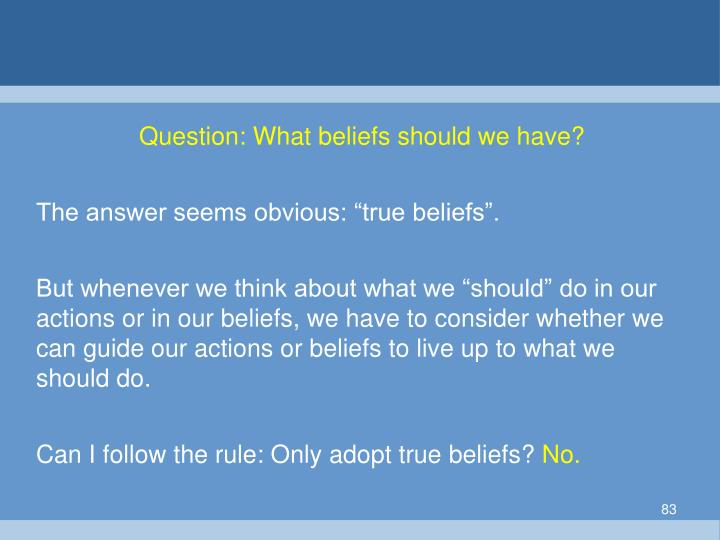 Question: What beliefs should we have?