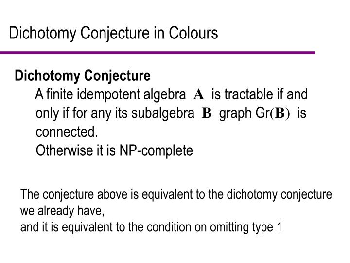 Dichotomy Conjecture in Colours