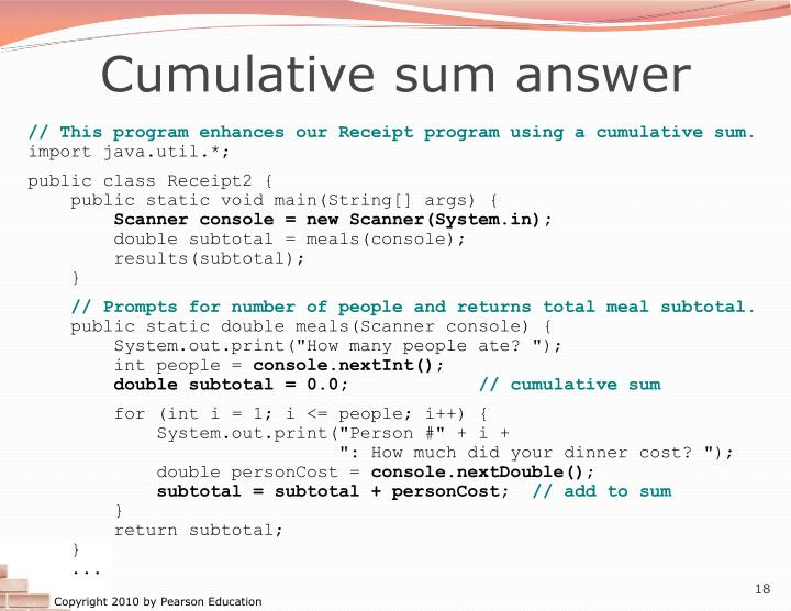 Cumulative sum answer
