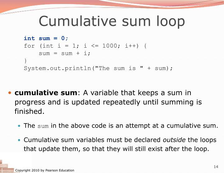 Cumulative sum loop