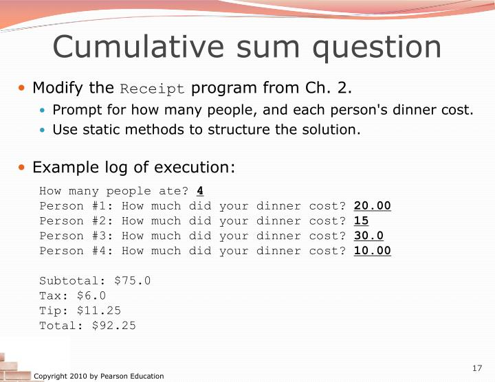 Cumulative sum question