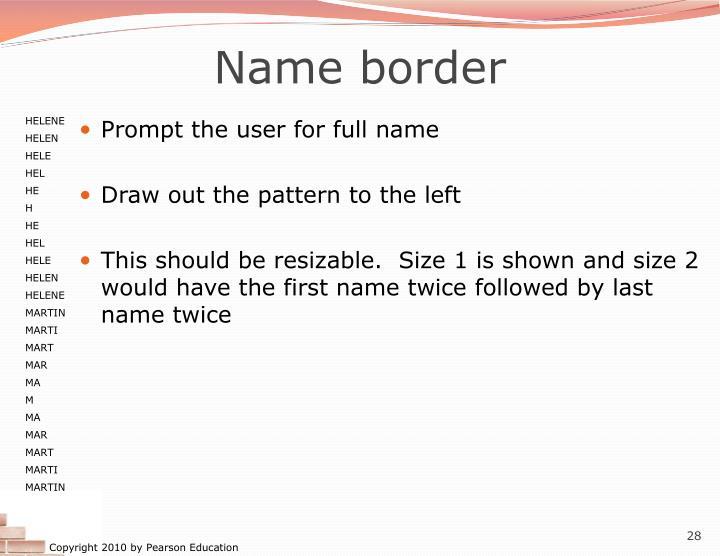 Name border