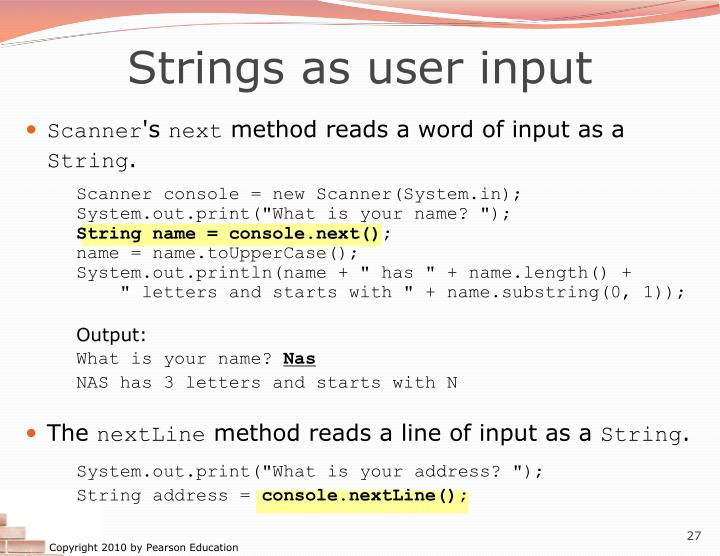 Strings as user input