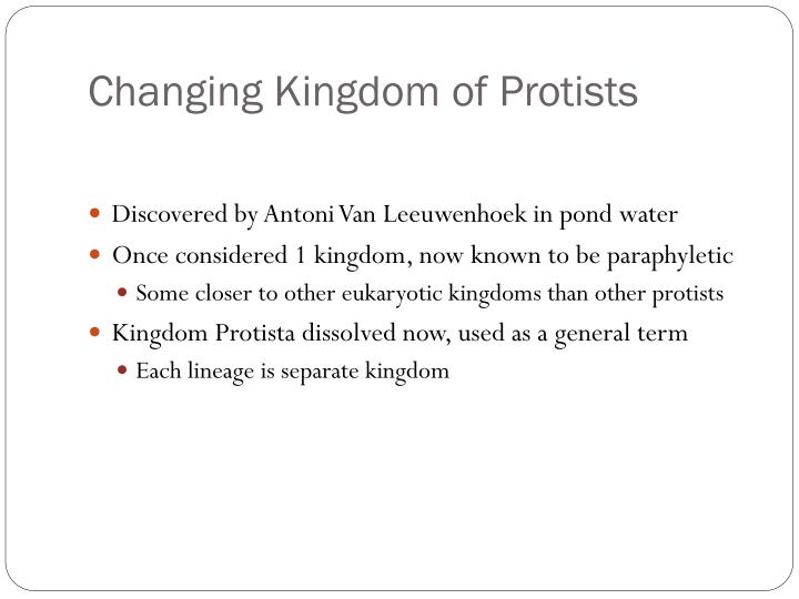 Changing kingdom of protists