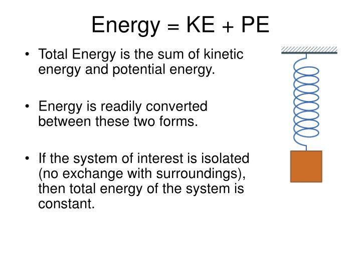 Energy = KE + PE