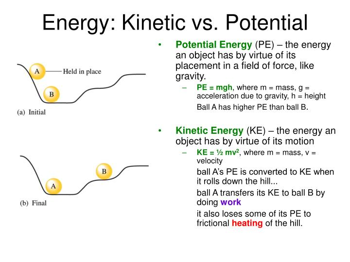 Energy kinetic vs potential