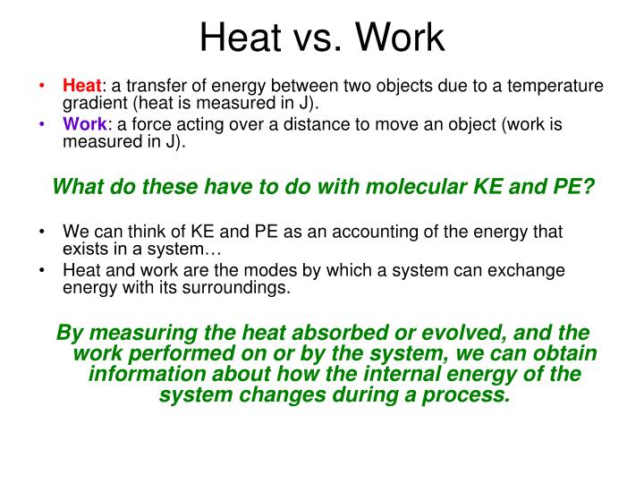 Heat vs. Work