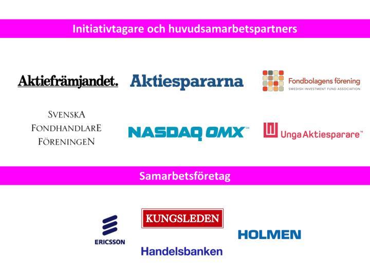 Initiativtagare och huvudsamarbetspartners