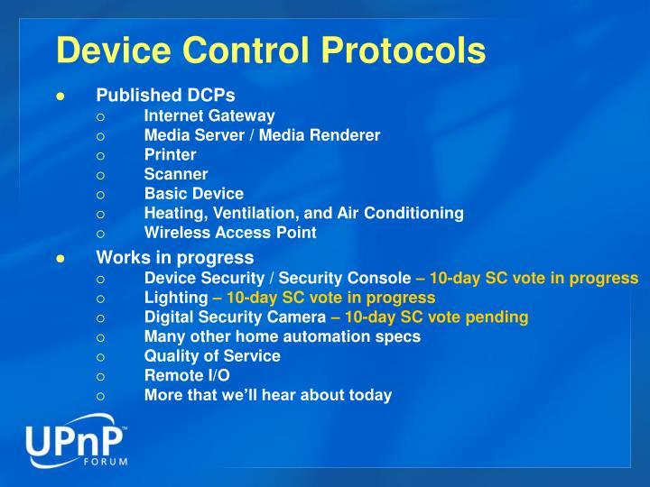 Device Control Protocols