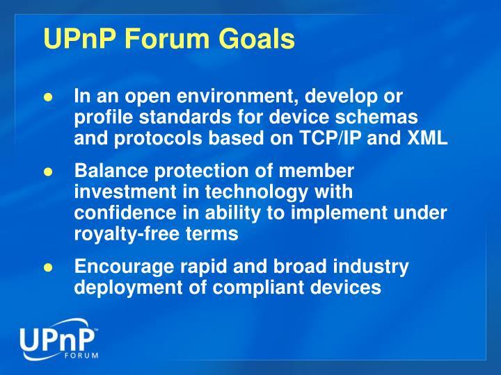 UPnP Forum Goals
