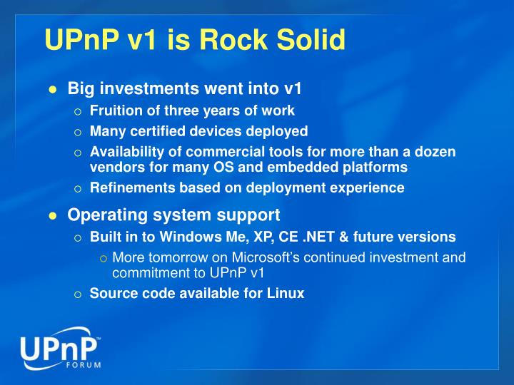 UPnP v1 is Rock Solid