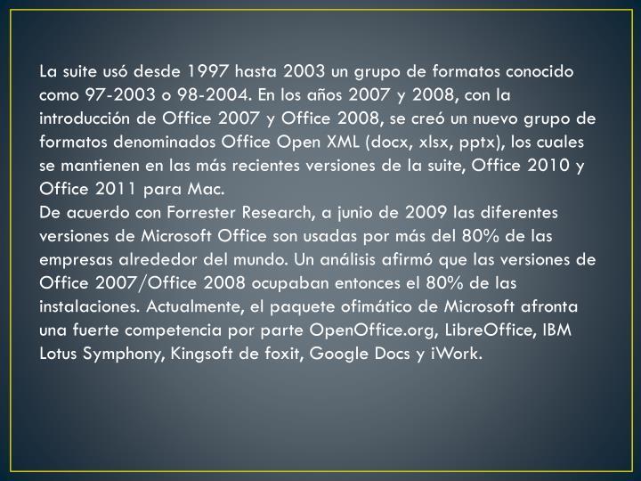 La suite usó desde 1997 hasta 2003 un grupo de formatos conocido como 97-2003 o 98-2004. En los años 2007 y 2008, con la introducción de Office 2007 y Office 2008, se creó un nuevo grupo de formatos denominados Office Open XML (