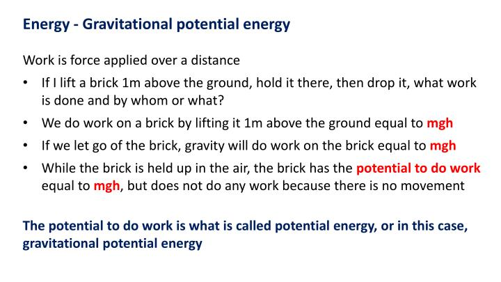 Energy - Gravitational potential energy