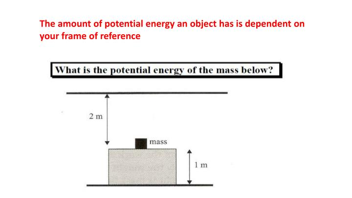 The amount of potential energy an object has is dependent on your frame of reference