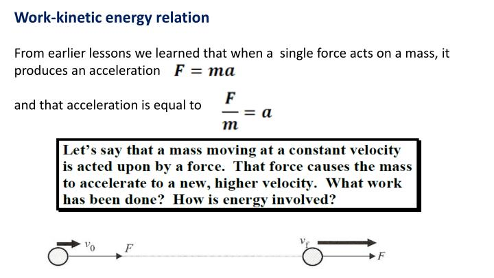 Work-kinetic energy relation