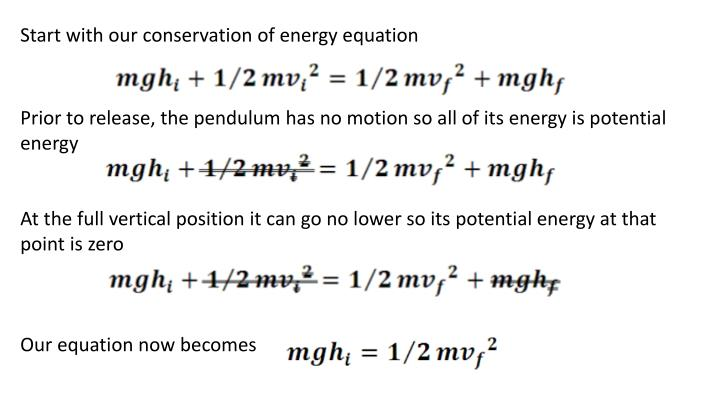 Start with our conservation of energy equation