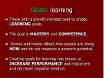 goals learning
