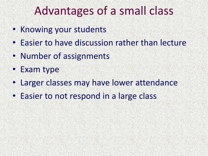 Advantages of a small class