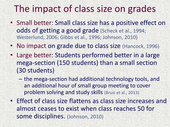 The impact of class size on grades