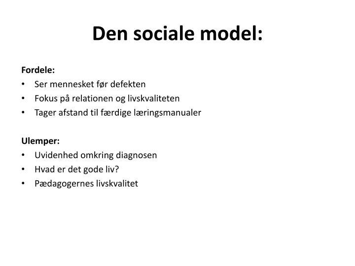 Den sociale model: