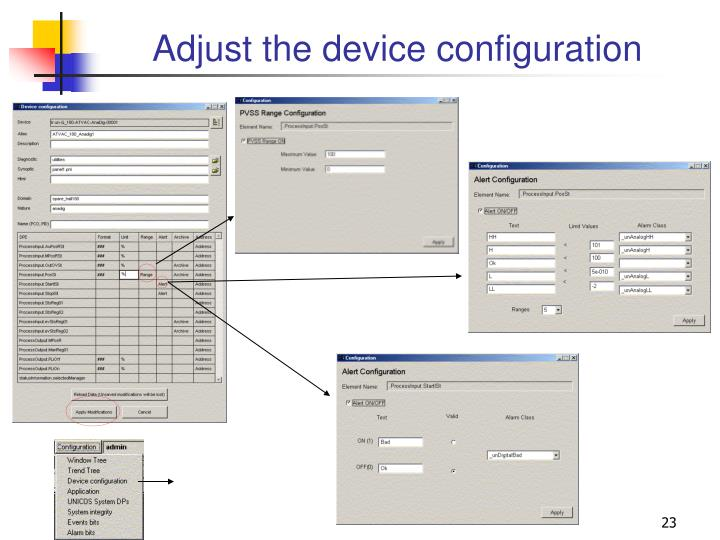 Adjust the device configuration