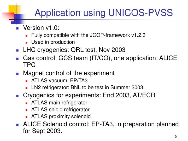 Application using UNICOS-PVSS