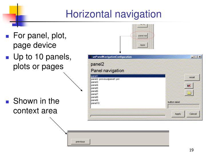 Horizontal navigation