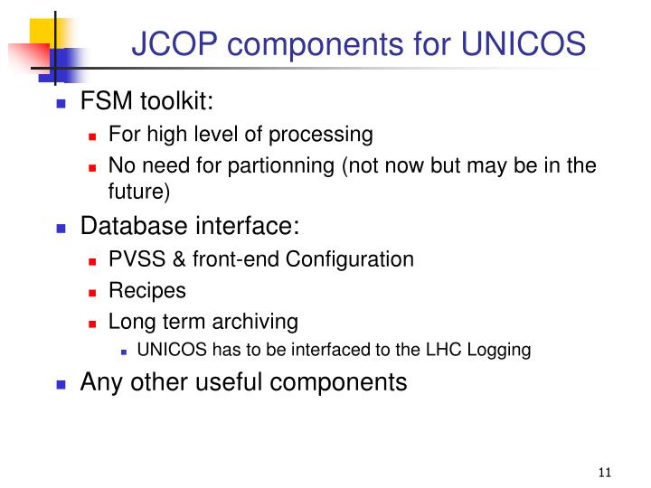 JCOP components for UNICOS