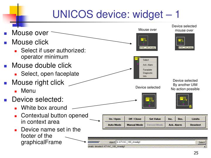 UNICOS device: widget – 1