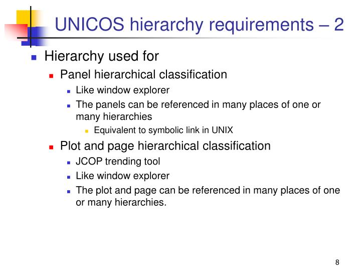 UNICOS hierarchy requirements – 2