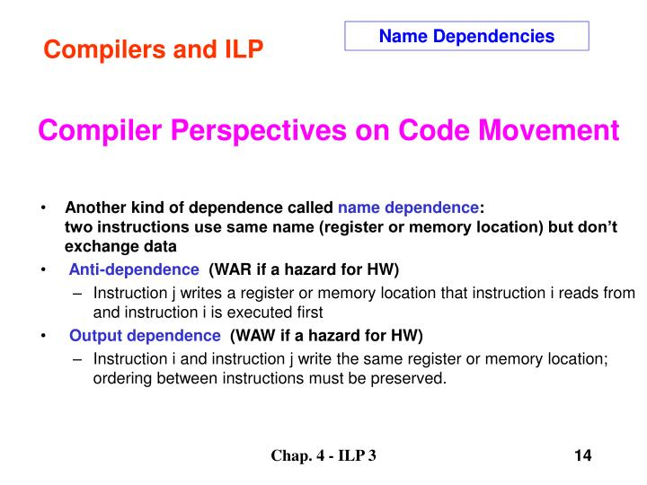Compilers and ILP
