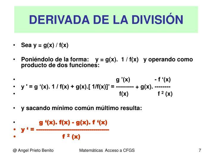 DERIVADA DE LA DIVISIÓN